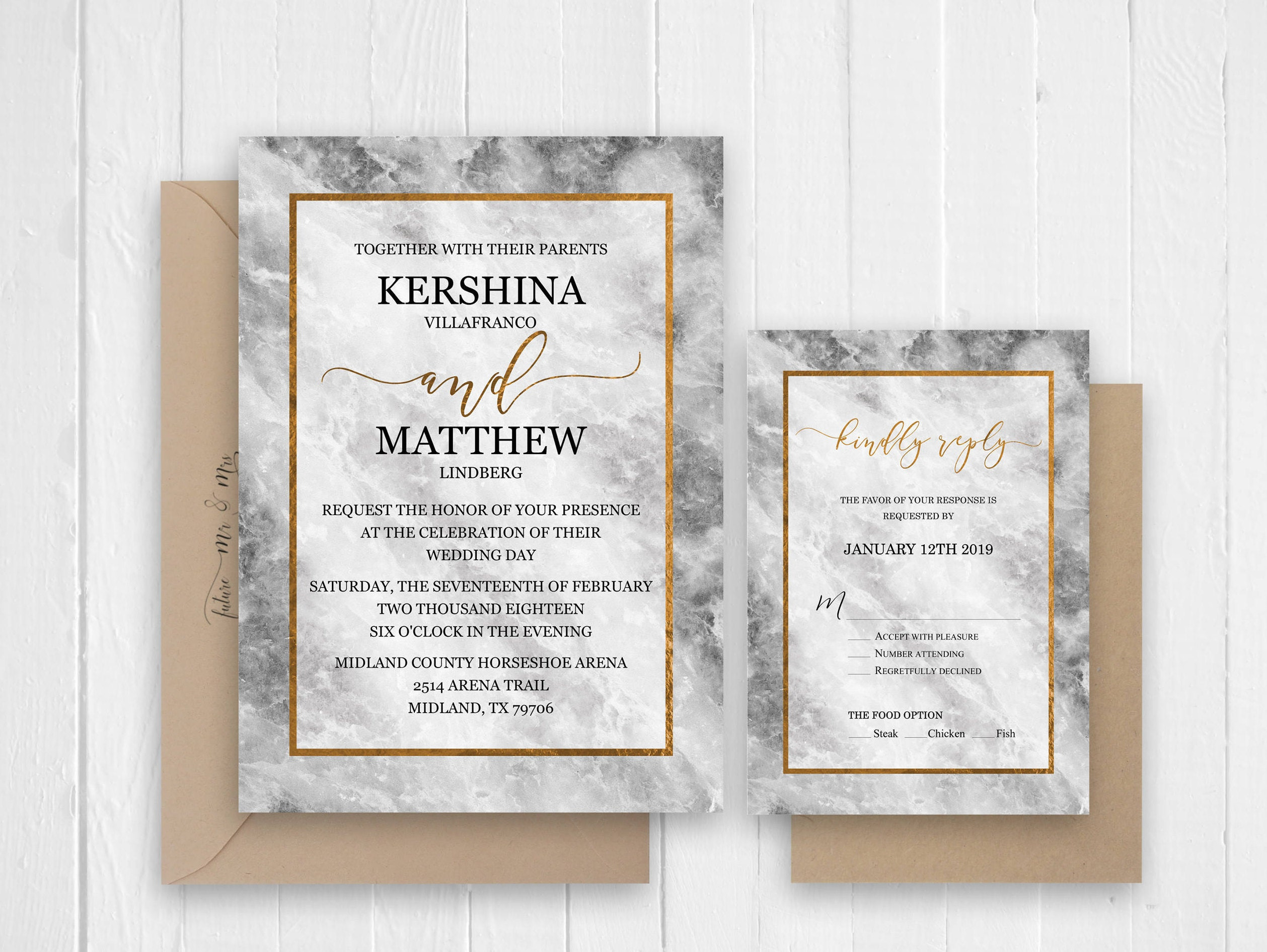 marble wedding invitation set modern wedding invitation details rsvp menu card printed wedding invitation sc338120lb premium card stock - Wedding Invitation Details Card