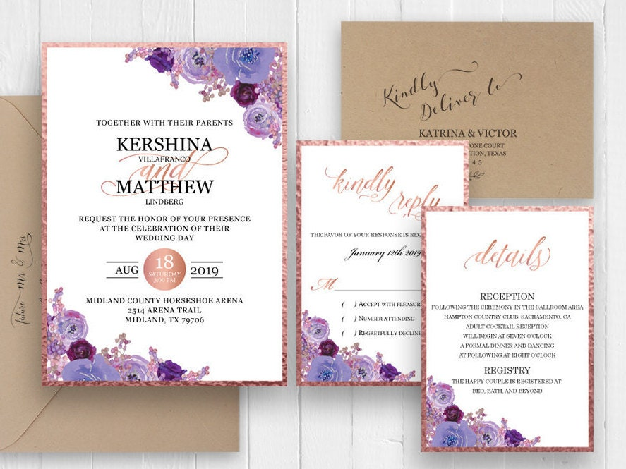 Purple Rose Wedding Invitations: Purple Rose Gold Wedding Invitation Set Plum Floral