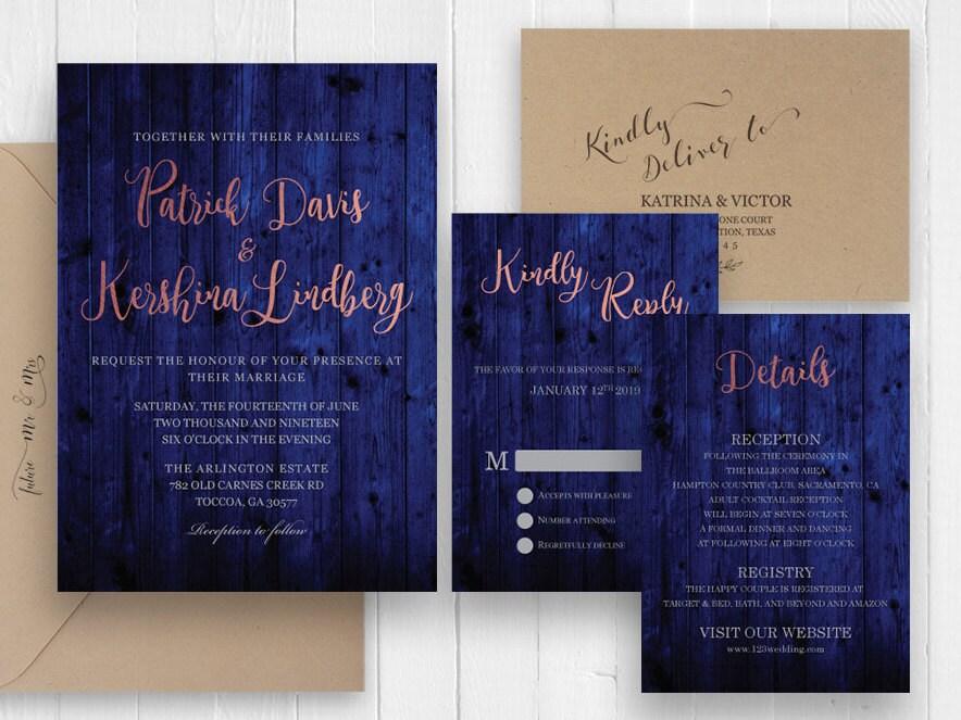 Rustic Navy Blue Wood Wedding Invitation Set Rose Gold Script Invite