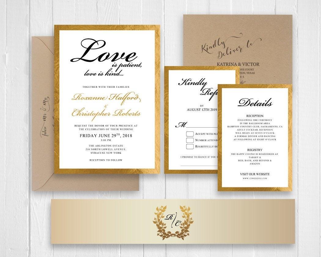 Elegant Gold Glitter Framed Wedding Invitation Set Birthdays ...