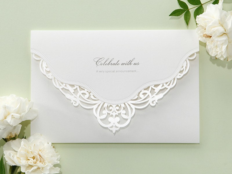 white victorian lace wedding invitations elegant laser cut