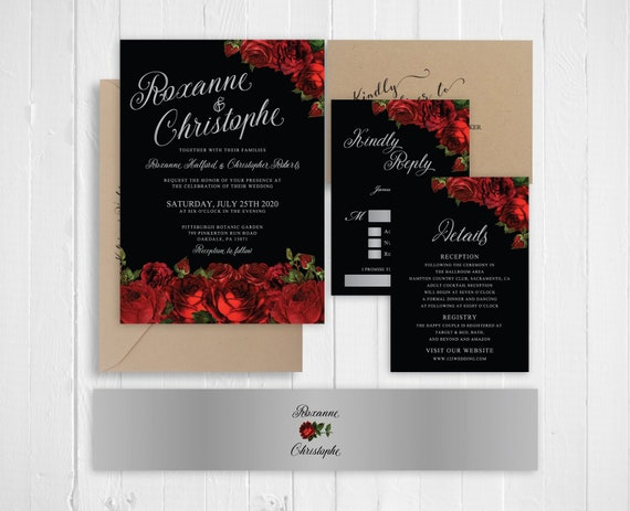 Red Black And Silver Wedding Invitations: Wedding Invitation Red Roses Black Silver Wedding