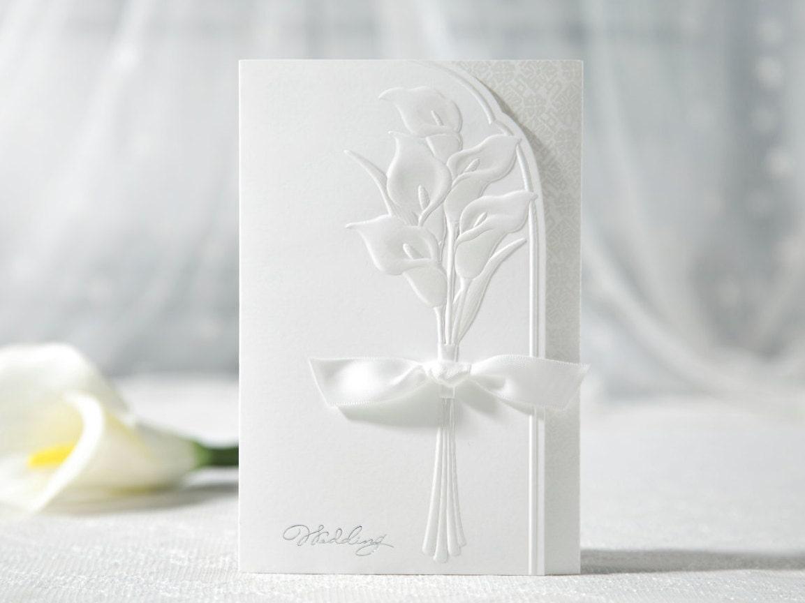 Elegant Wedding Invitation White Ribbon and Embossed Flower invites ...