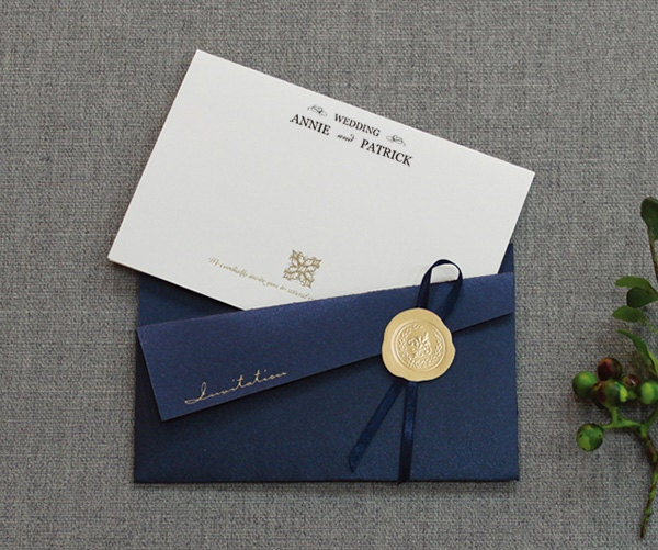 elegant wedding invitations navy pocket invitation all in one
