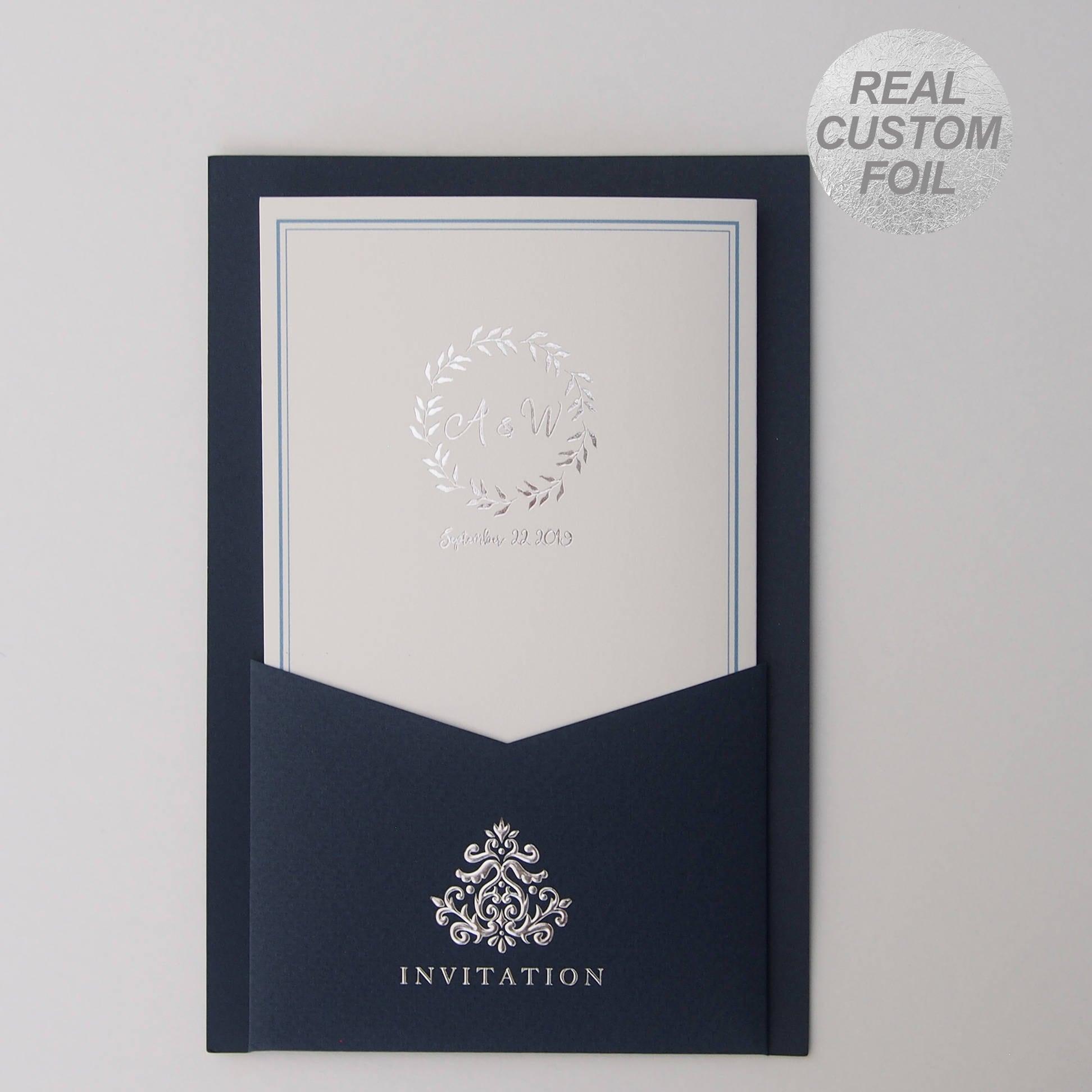 Custom Silver foil wedding invitations Blue Pocket All in one ...
