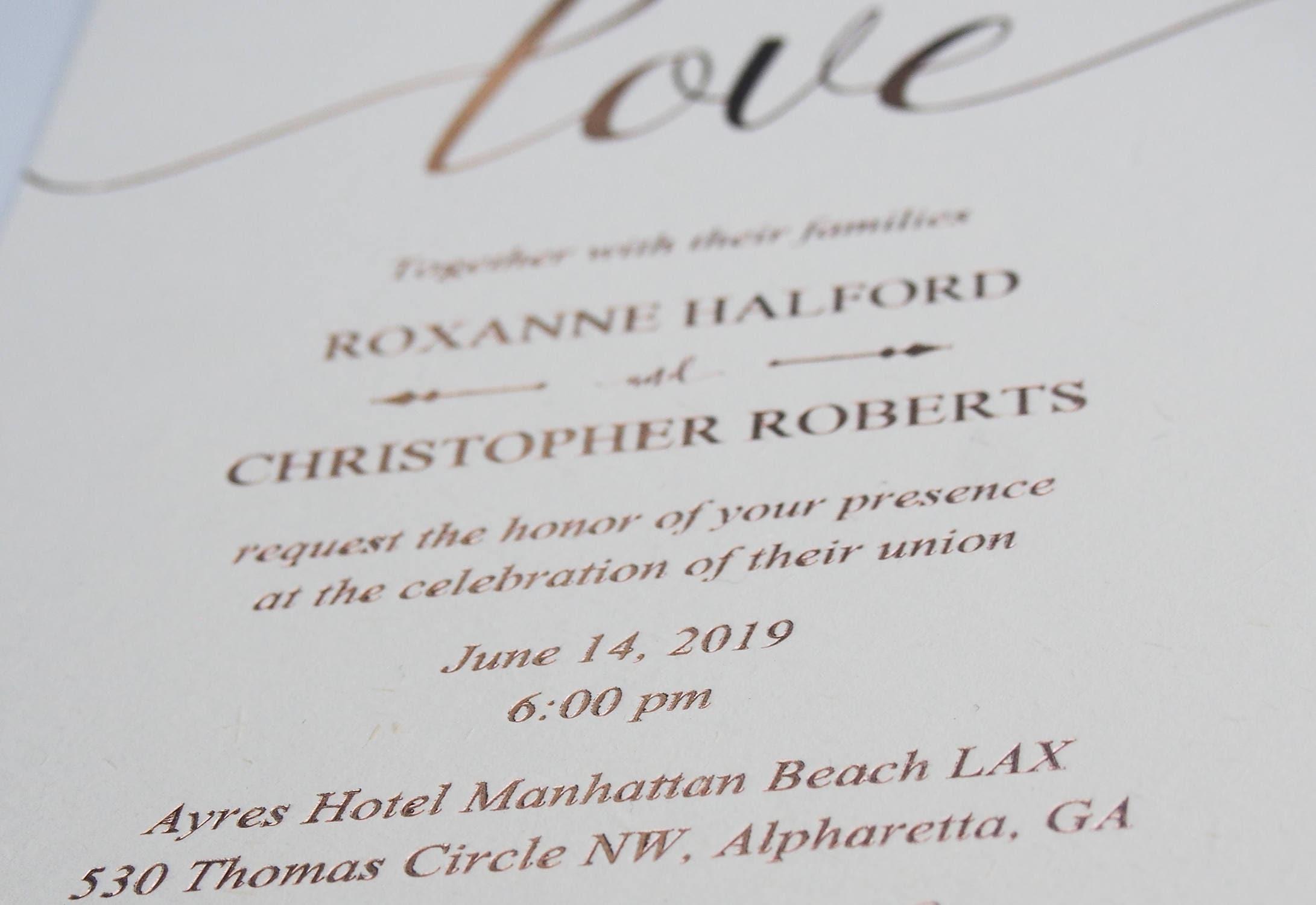 Rosegold foil wedding invitations Hot foil letterpress invitation ...