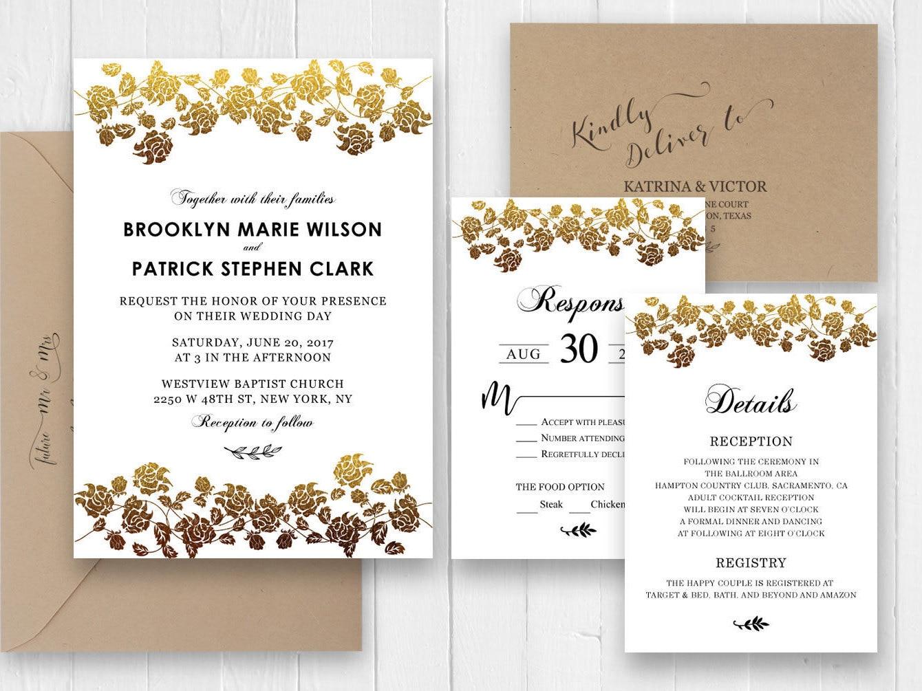 Gold rose Wedding Invitations, Elegant Wedding invitation RSVP ...