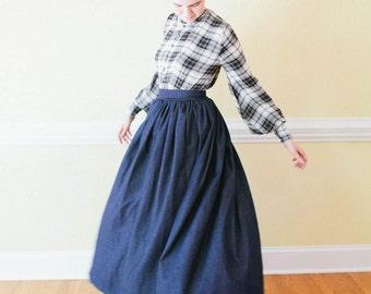 vintage denim skirtAustralian vintage fashion1970s denim skirtColonials denim maxi skirtvintage maxi skirtrare Aussie Colonials skirt