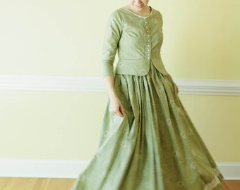Peplum and Lace Dress - Button up dress - Prairie Dress Made to Measure pioneer dress colonial dress custom reenactment dress