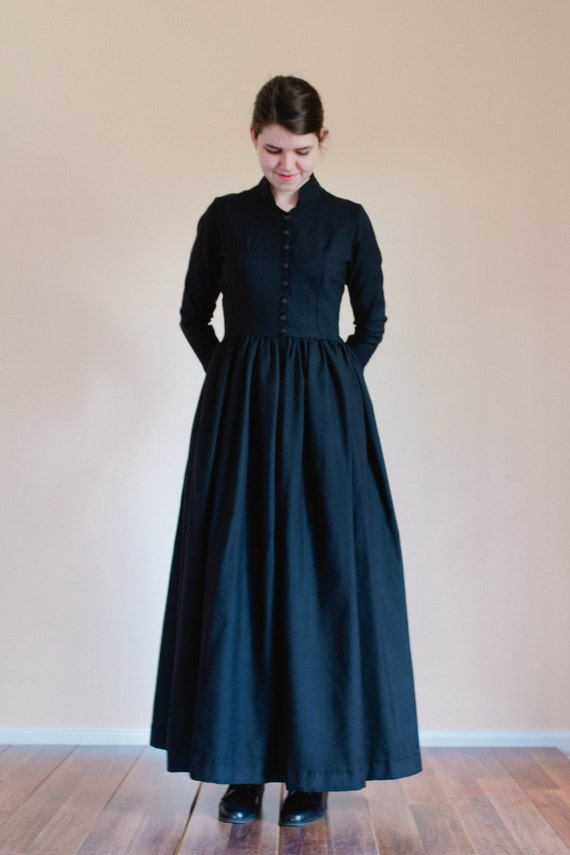 Old Fashioned Dresses | Old Dress Styles 1870-1880 Winter Dress - prairie Dress Made to Measure Dress - Play dress prairie costume pioneer costume movie costume dress reenactment dress $130.00 AT vintagedancer.com