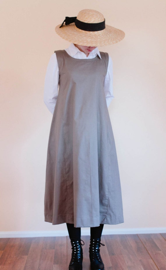 1900 Edwardian Dresses, Tea Party Dresses, White Lace Dresses Jumper Dress - Womens Pinafore Dress - Reenactment Dress - Made to Measure Prairie Dress - Custom Reenactment dress Mennonite dress $110.00 AT vintagedancer.com