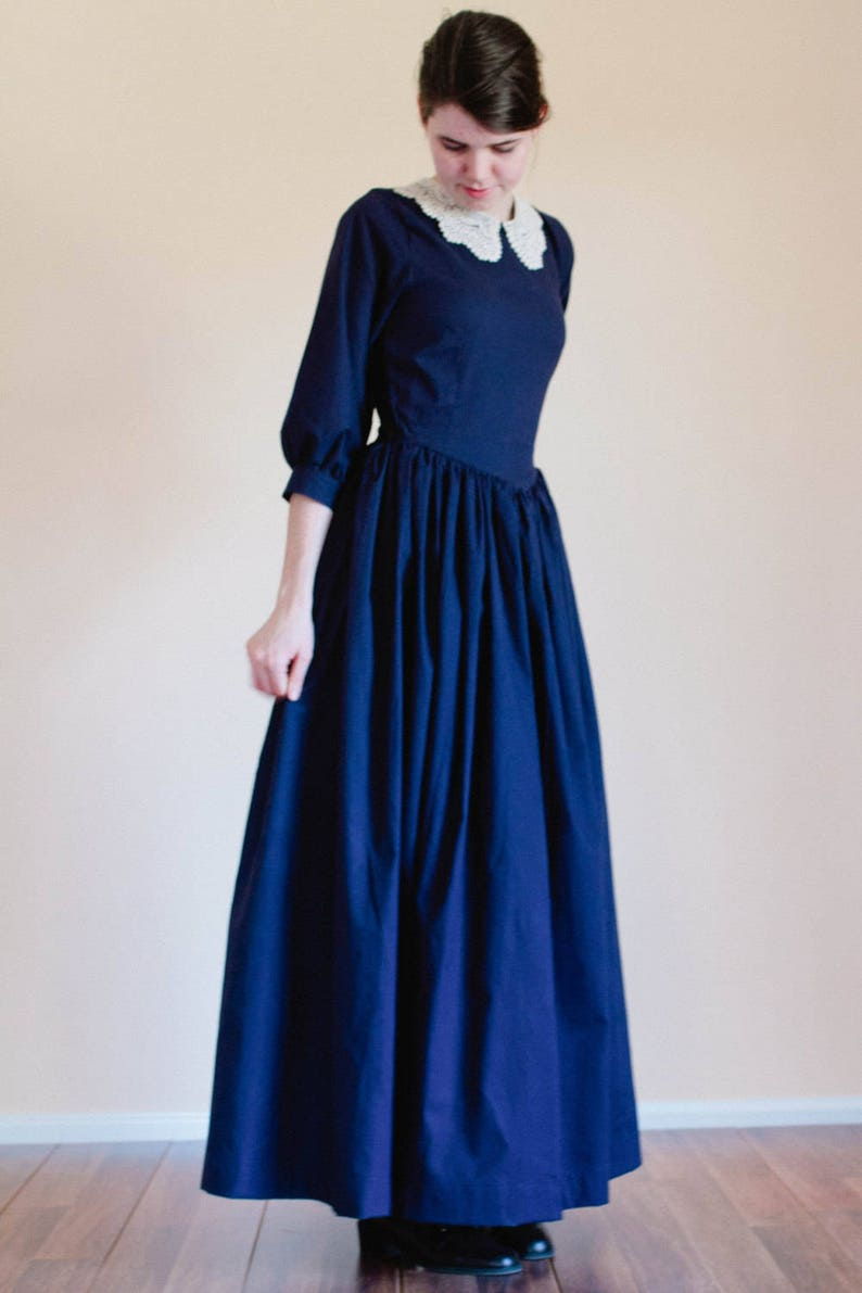Victorian Dresses | Victorian Ballgowns | Victorian Clothing LACE collar Pointed Bodice Plain Dress - Custom Prairie Dress - Made to Measure Pioneer Dress - nursing access colonial reenactment dress $99.00 AT vintagedancer.com