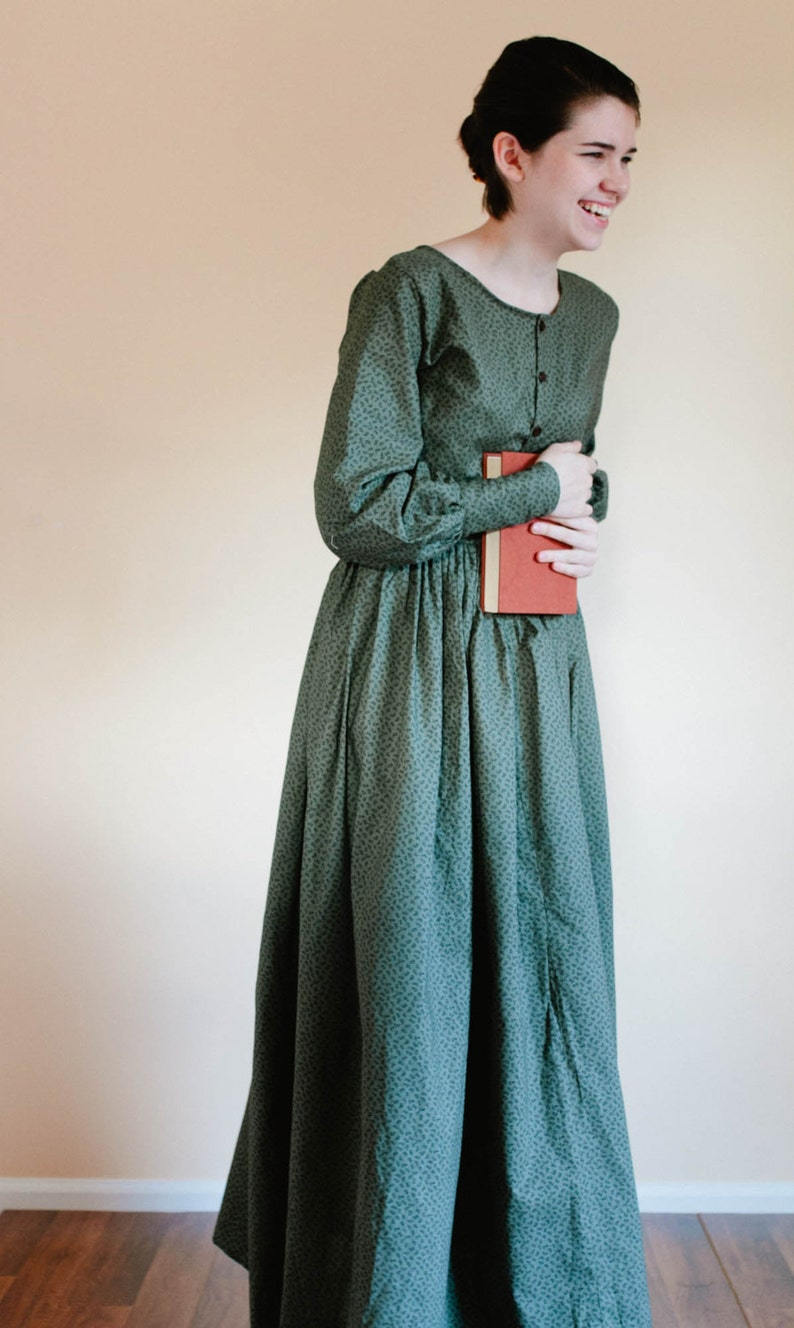 Hippie Dress | Long, Boho, Vintage, 70s Button Up Plain Dress - Front Button Prairie Dress - Made to Measure Pioneer Dress - reenactment dress Mennonite dress reenactment dress $87.00 AT vintagedancer.com