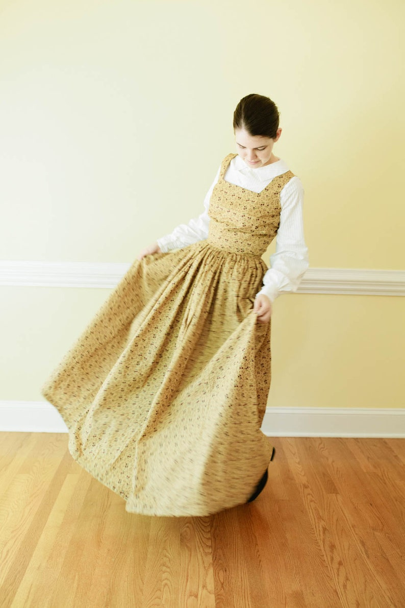 Cottagecore Clothing, Soft Aesthetic Fitted Jumper Dress - Custom Pinafore Dress - Custom Reenactment Dress Made to Measure Colonial Dress - Pioneer dress regency dress $80.00 AT vintagedancer.com