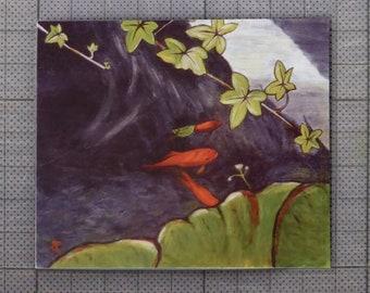 Goldfish art magnet ~ fridge magnet ~ fish art print ~ kitchen decor