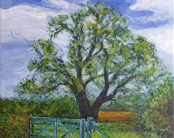 Original tree painting on square canvas ~ 'Country Gate' landscape art ~ early autumn landscape ~ New Zealand wall art