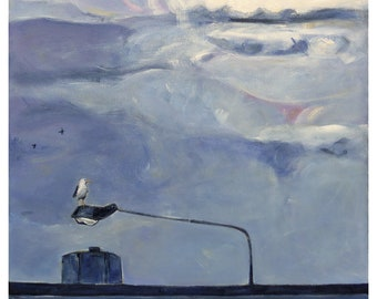 Square original painting 'A Break in the Weather' ~ seagull art ~ golden hour ~ sky and clouds ~ urban landscape ~ NZ wall art on canvas