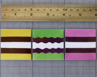 Liquorice Allsorts magnets ~ set of three ~ yellow green pink licorice allsorts prints ~ fun kitchen decor ~ 2 x 2 inch fridge magnets