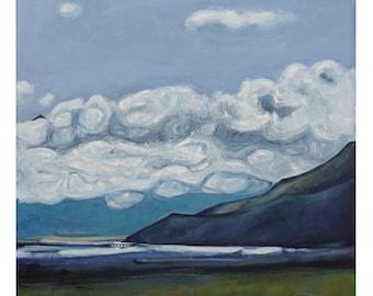 Cloudscape original painting ~ contemporary wall art on canvas ~ blue landscape art ~ blue decor