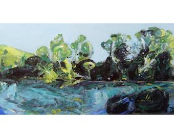 "Original scenic landscape ""Te Waikoropupū Springs II"" ~ New Zealand painting on canvas ~ NZ artwork ~ nature wall art"