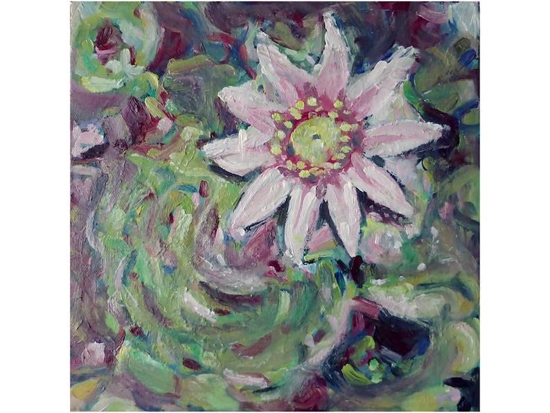 Flowering cactus canvas art  small original artwork  image 0