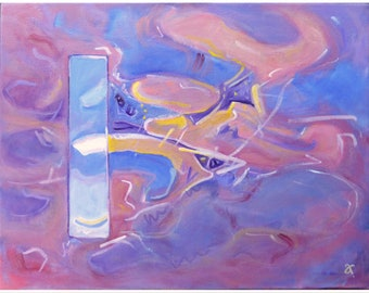 Abstract sunrise painting on canvas ~ original art ~ NZ artist ~ colourful wall art ready to hang