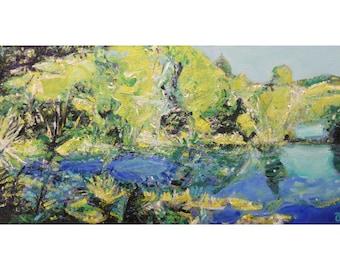 """Original New Zealand landscape painting on canvas """"Te Waikoropupū Springs I"""" ~ NZ wall art ~ NZ artist"""