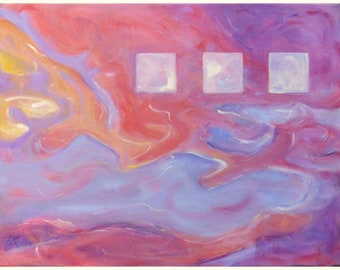 Original abstract painting on canvas ~ colourful sunrise ~ wall art ready to hang ~ NZ artist