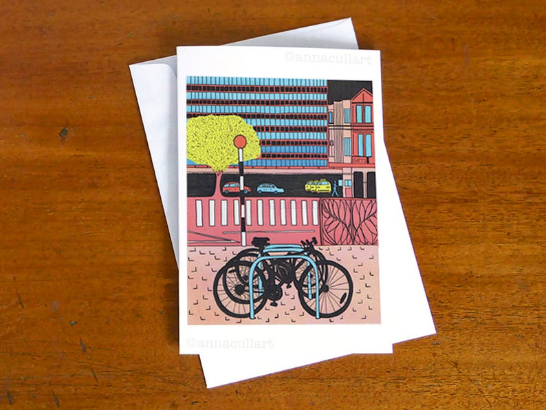 Colourful city and bikes note card  only THREE cards left in image 0