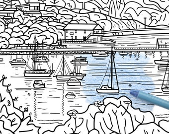 Colouring pages for adults ~ printable instant download ~ fun and relaxation ~ Akaroa Harbour NZ landscape drawing ~ PDF, PNG