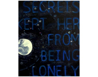 Original painting 'Secrets kept her from being lonely' ~ night sky wall art ~ moon and stars ~ word art ~ text art