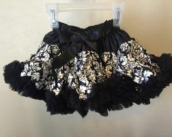 Baby Toddler Girls Black and White Damask Pettiskirt Tutu Ballet Skirt Fluffy Party Dress