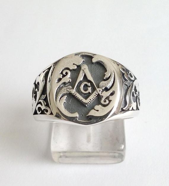Varouxi handgemachte Freimaurer Ring Silber 925