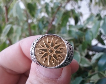 Varouxi Macedonia Vergina Sun Silver Ring Men  Ring Silver 925+Gold Plated 24k
