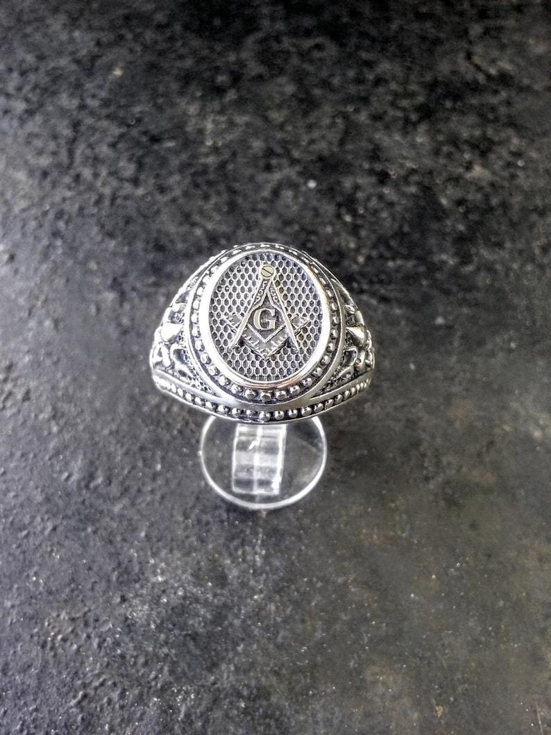 Varouxi MASONIC SILVER 925 RING Mens Masonic Ring Handmade Freemasonry  Fleur-de-lis Ring Silver 925
