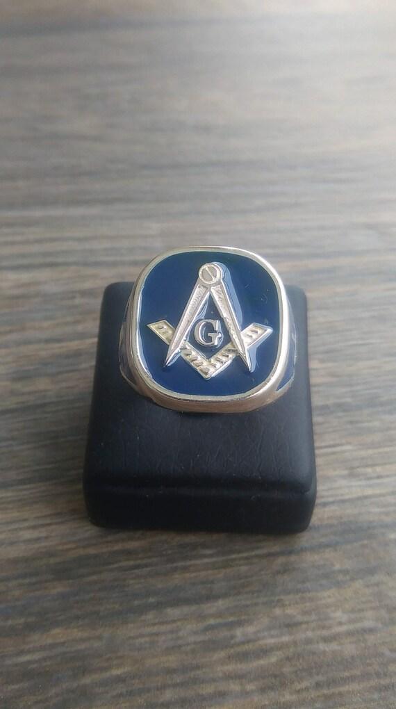 Mens Masonic Ring Handmade Freemasonry MASONIC SILVER 925 RING with blue  enamel