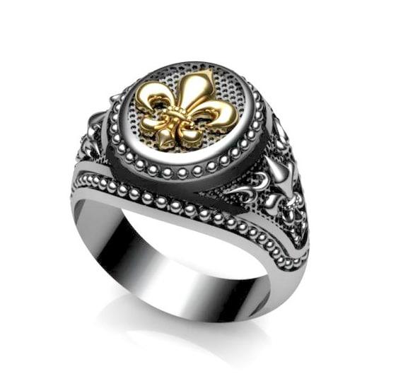 Fashionable Design For Men Armor Fleur-De-Lis Handmade Sterling Silver Ring Gifts For Husband Gifts \u0130dea