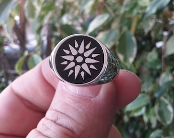 Varouxi  Black Enamel Vergina Sun Silver Ring Men Star of Vergina Ring Silver 925