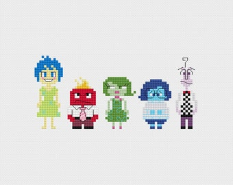 Inside Out Emotions Cross Stitch Pattern PDF Instant Download