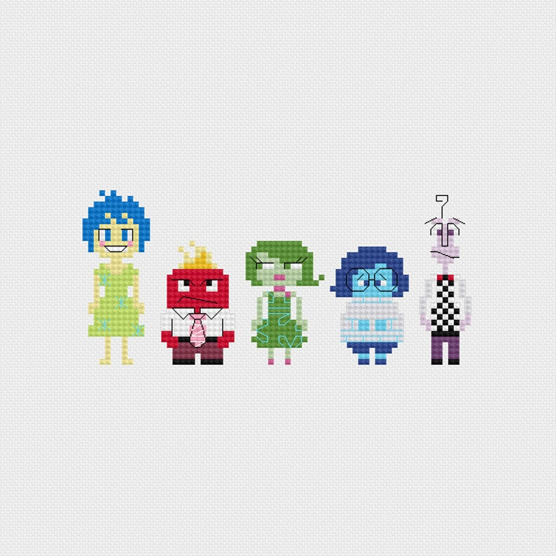 Inside Out Emotions Cross Stitch Pattern PDF Instant Download image 0