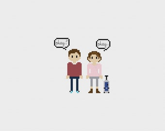 """The Fault in Our Stars: Gus and Hazel """"Okay"""" Cross Stitch Pattern PDF Instant Download"""