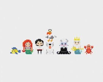 Disney Princess Minis: The Little Mermaid Cross Stitch Pattern PDF Instant Download