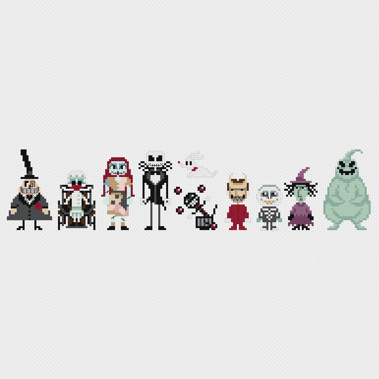 Nightmare Before Christmas Jack And Sally Counted PDF Cross Stitch Pattern DIY