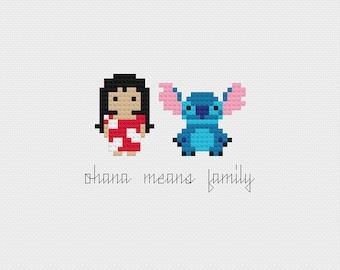 Disney Lilo & Stitch Ohana Minis Cross Stitch Pattern PDF Instant Download
