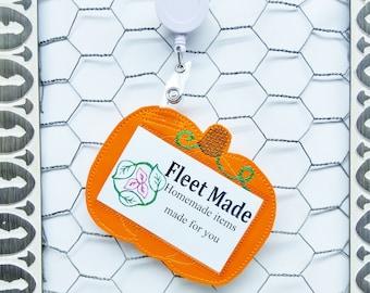 Pumpkin ID Badge Holder Badge Reel Holder Pediatric Nursing Doctor Gift Badge Identification Vertical Id Holder Card Holder Teacher Fall