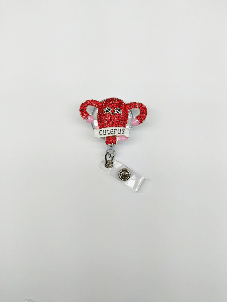 Uterus Badge Reel  Labor and Delivery Nurse Bling Badge Reel Nurse jewelry ID Holder Retractable OBGYN Cuteris Badge Pediatric Nurse Gift