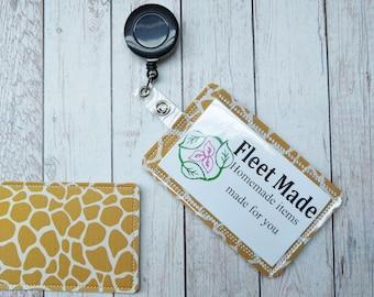 Giraffe ID Badge Holder Badge Reel Holder Pediatric Nursing Doctor Gift Badge Identification Vertical Id  Card Holder Teacher Animal Print