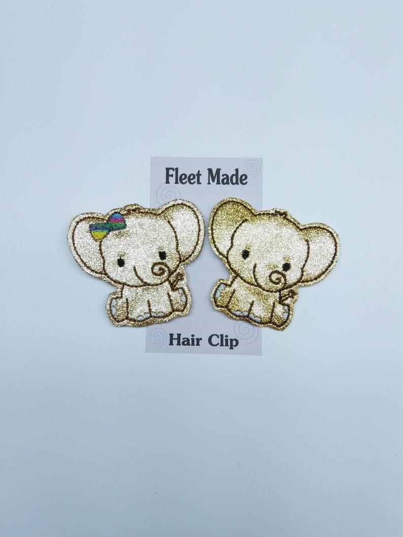 Golden Glitter Elephant Hair Clip Hair Barrette Covered Hair Clip Shirt Pin Felt Hair Accessories Paper Clip Embroidered Feltie