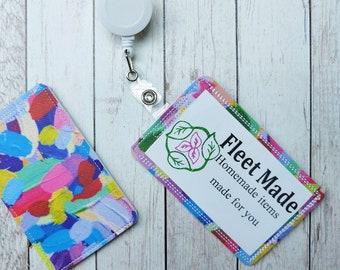 Painted Rainbow ID Badge Holder Badge Reel Holder Pediatric Nursing Doctor Gift Badge Identification Vertical Id  Card Holder Teacher art