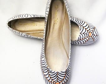 fe167afc73a Halloween Flats   White Spider Web Flats   Spider Web Flats   Black    Orange Spider Web Flats   Hand Painted Shoes   Halloween Flats